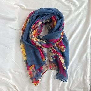 D&Y Floral Print Rectangle Scarf
